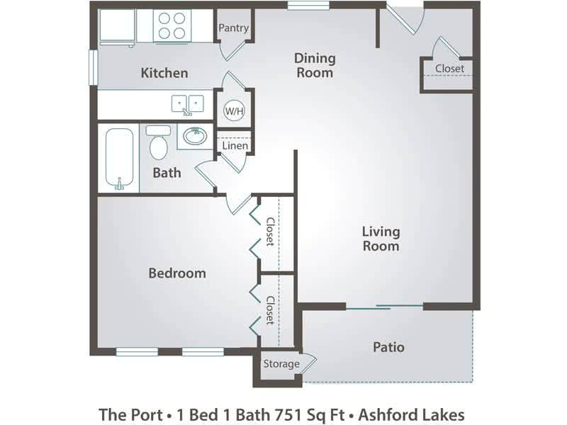 2D | The Port contains 1 bedroom and 1 bathroom in 751 square feet of living space.