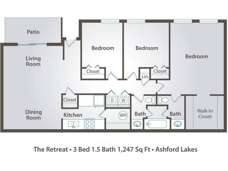 2D | The Retreat contains 3 bedrooms and 1.5 bathrooms in 1247 square feet of living space.