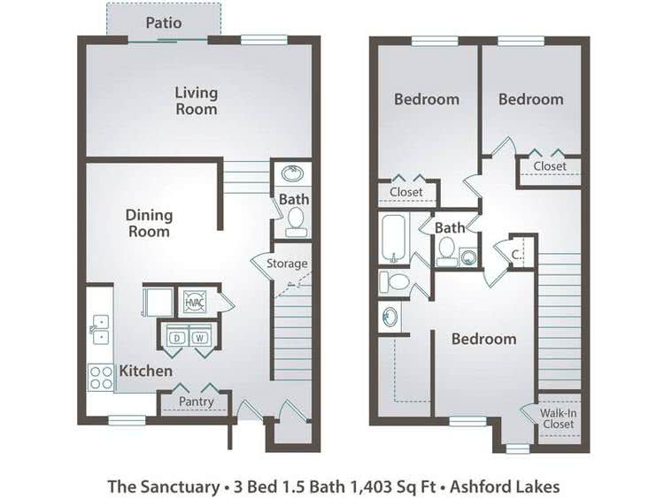 2D | The Sanctuary contains 3 bedrooms and 1.5 bathrooms in 1403 square feet of living space.