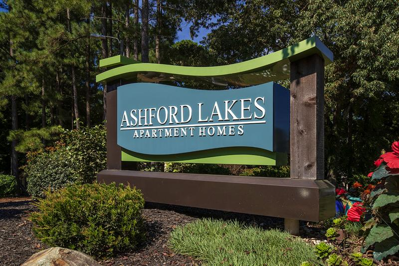 Front Sign | Welcome home to Ashford Lakes Apartments in Hillsborough, NC!