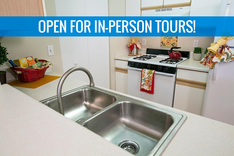 Open Kitchens | We are excited to offer in-person tours while following social distancing and we encourage all visitors to wear a face covering. Kitchens featuring tile flooring, ample cabinetry, and a breakfast bar.