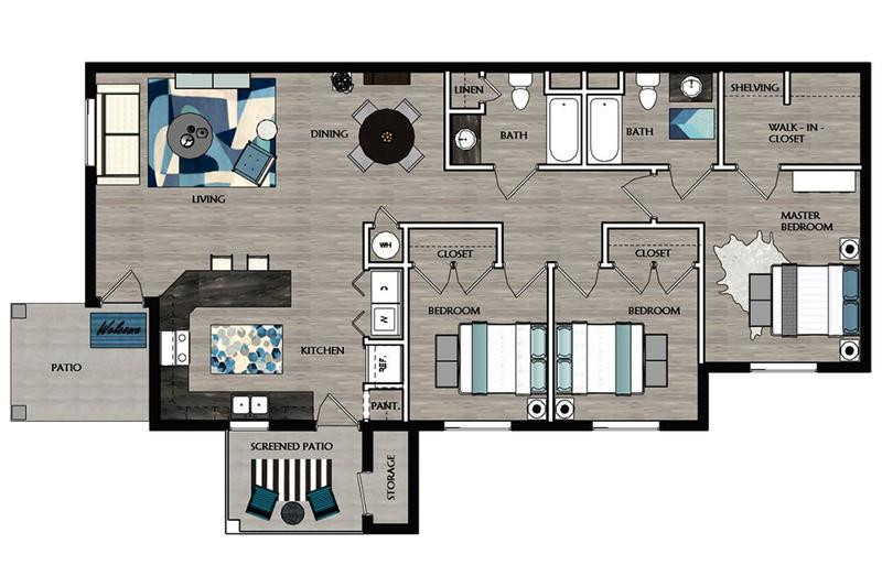 2D | The Cobalt contains 3 bedrooms and 2 bathrooms in 1440 square feet of living space.
