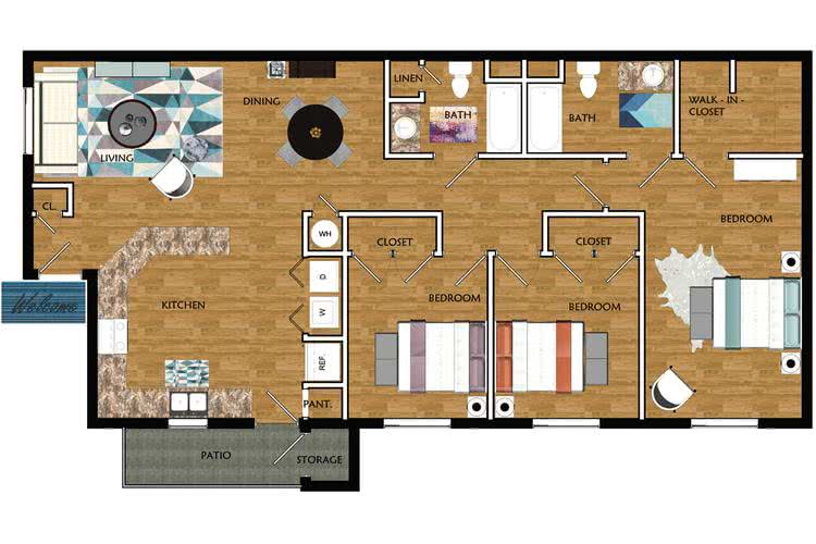 2D |  The Calhoun contains 3 bedrooms and 2 bathrooms in 1223 square feet of living space.