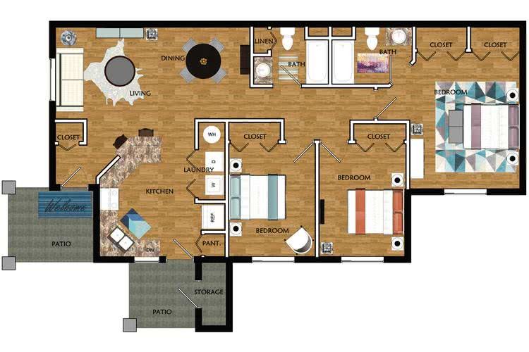 2D | The Talmadge contains 3 bedrooms and 2 bathrooms in 1283 square feet of living space.
