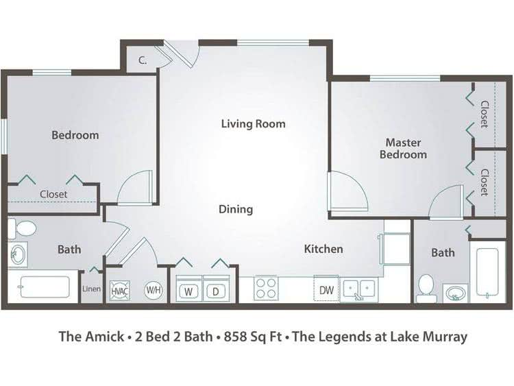 2D | The Amick contains 2 bedrooms and 2 bathrooms in 858 square feet of living space.