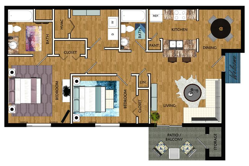 2D | The Bickley contains 2 bedrooms and 2 bathrooms in 954 square feet of living space.