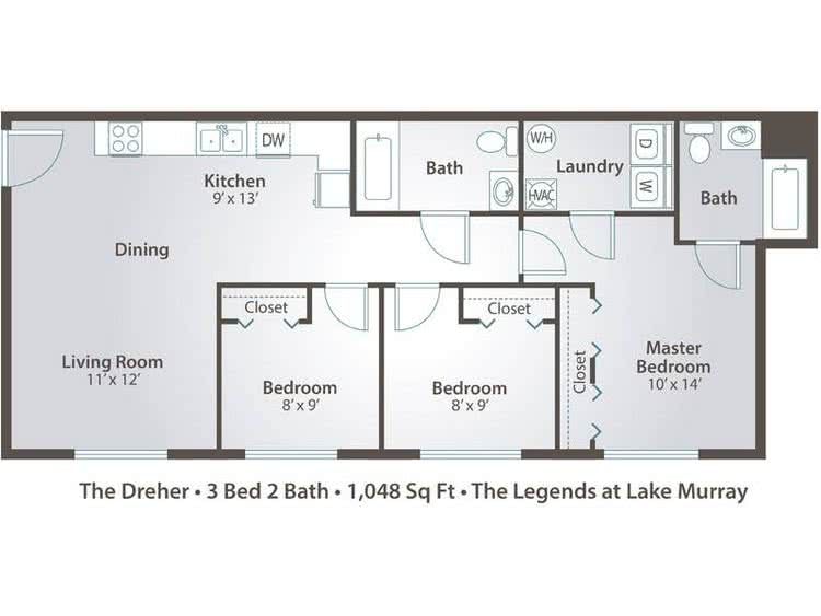 2D | The Dreher contains 3 bedrooms and 2 bathrooms in 1048 square feet of living space.