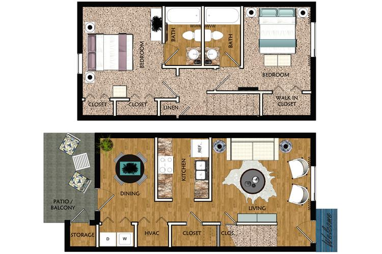 2D | The Saluda contains 2 bedrooms and 2 bathrooms in 1093 square feet of living space.