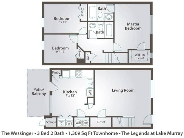 2D | The Wessinger contains 3 bedrooms and 2 bathrooms in 1309 square feet of living space.