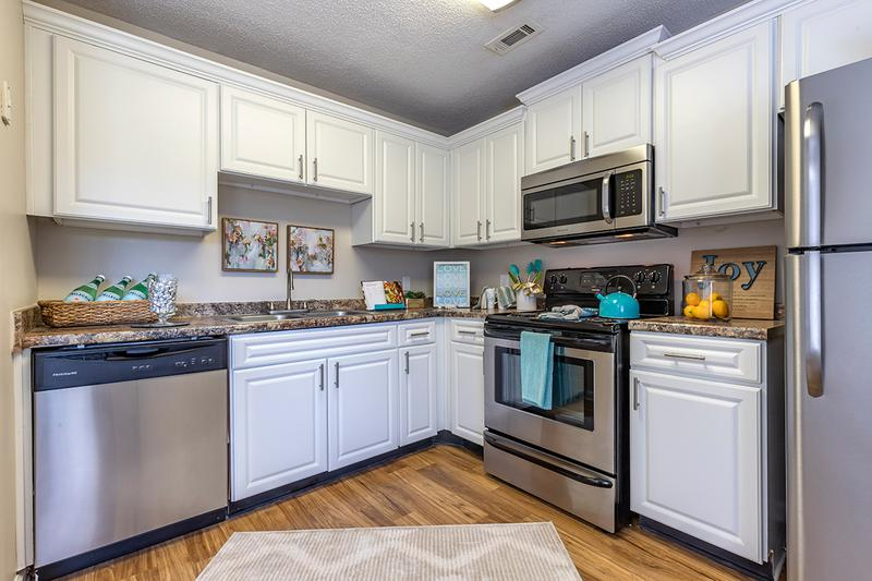 Stainless Steel Appliances | Our updated kitchens include stainless steel appliances and plenty of cabinet space.