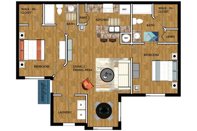 2D | The Lexington contains 2 bedrooms and 2 bathrooms in 951 square feet of living space.