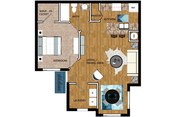 2D | The Murray contains 1 bedroom and 1 bathroom in 698 square feet of living space.