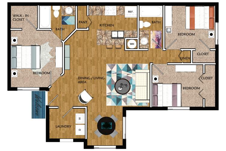 2D | The Saluda contains 3 bedrooms and 2 bathrooms in 1070 square feet of living space.