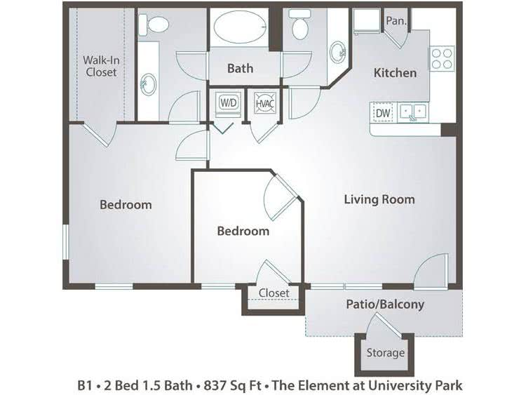 2 Bedroom Apartment Floor Plans Pricing The Element At University Park Bryan Tx