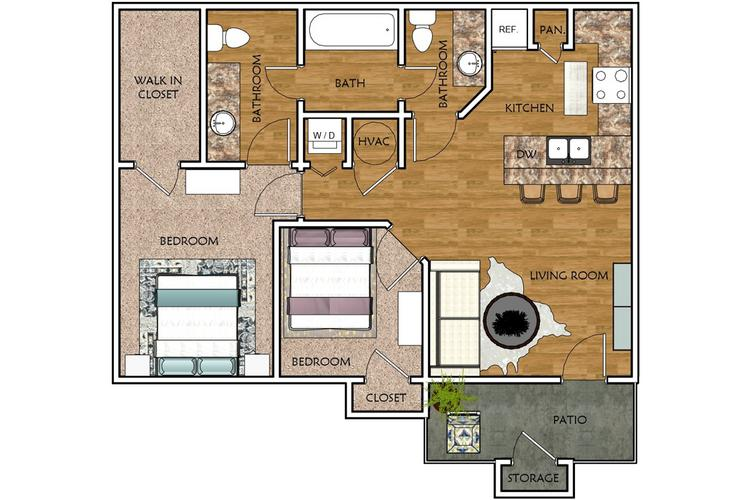 2D | The Cypress contains 2 bedrooms and 1.5 bathrooms in 837 square feet of living space.