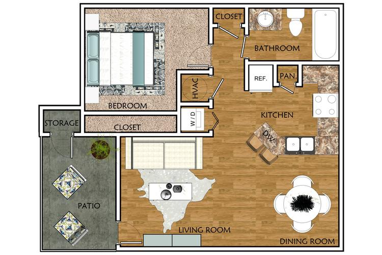 2D | The Fir contains 1 bedroom and 1 bathroom in 683 square feet of living space.