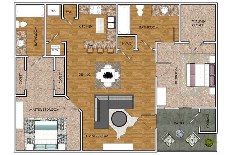 2D | The Oak contains 2 bedrooms and 2 bathrooms in 900 square feet of living space.