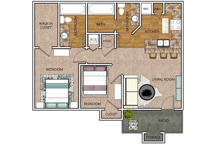 2D | The Pine contains 2 bedrooms and 2 bathrooms in 837 square feet of living space.