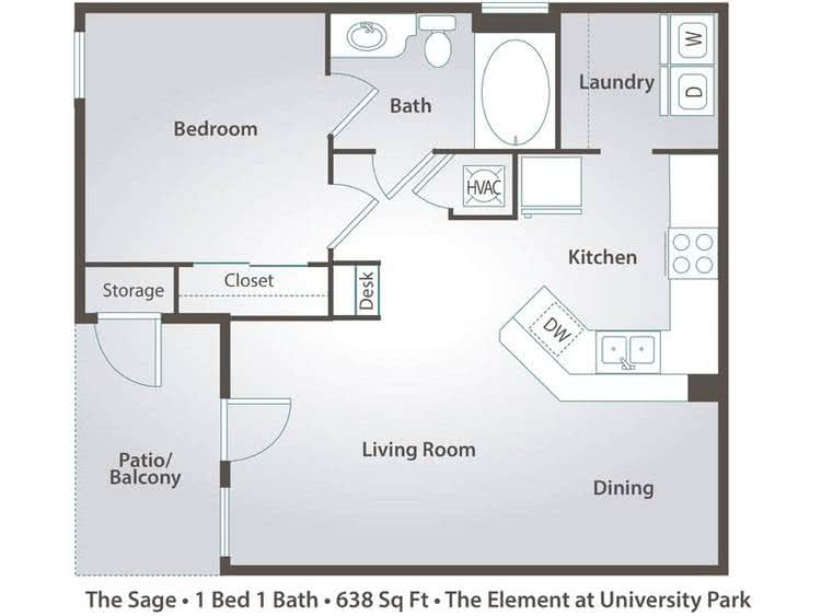 2D | The Sage contains 1 bedroom and 1 bathroom in 638 square feet of living space.