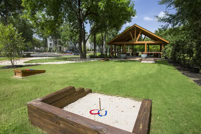 Horsehoes | Play a game of horseshoes or cornhole with some friends right outside the pavilion.