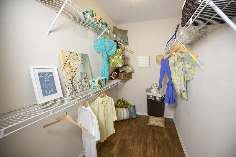 Walk-In Closet | Master bedroom walk-in closet featuring storage shelves.
